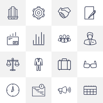 Set Of 16 Trade Outline Icons Set.Collection Of Suit, Business Center, Scales And Other Elements.